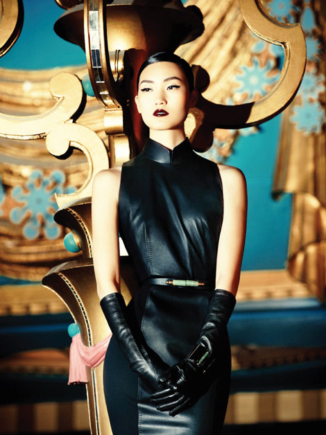 Lina Zhang in Elbow lenght Leather Gloves Shanghai Tang FW 1314campaign