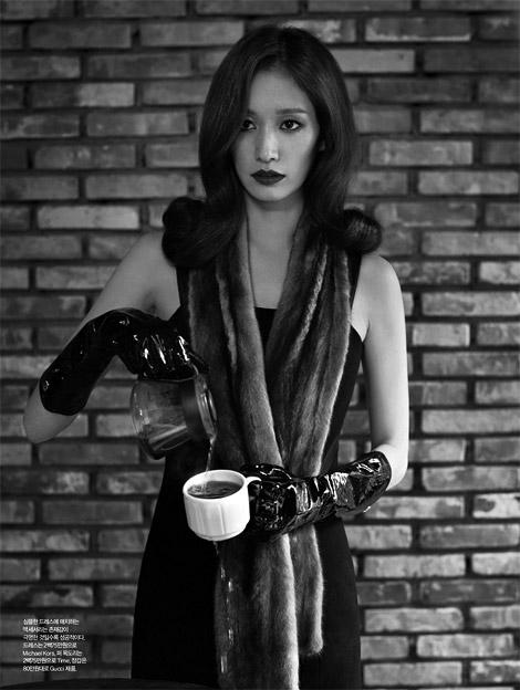 Sera Park in Gucci patent leather Gloves Harper's Bazaar Korea 02.2012